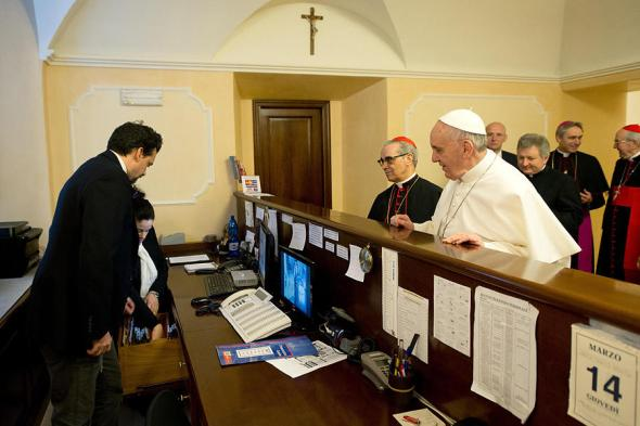 Pope Francis returned to his church-run residence in Rome and insisted to pay his bill, even though, as pope, he's effectively now in charge of that business.