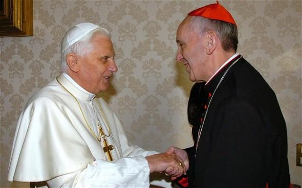 Cardinal Jorge Mario Bergoglio meeting Pope Benedict XVI